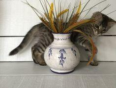 Majolica Vase by Sberna Ceramics of Deruta Italy, Numbered Majolica Vase, Blue and White Ceramic Vase, Deruta Pottery, Italian Ceramics