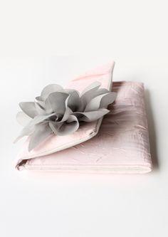 Wedding Clutch Purse, Pale Pink, Gray Flower, Silk Chiffon