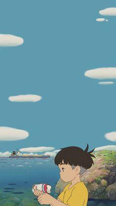 Wallpaper Wa, Cute Anime Wallpaper, Cute Cartoon Wallpapers, Studio Ghibli Art, Studio Ghibli Movies, Anime Pixel Art, Anime Art, Studio Ghibli Background, Blue Anime