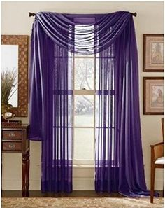 """LuxuryDiscounts 2 PC Solid Rod Pocket Sheer Window Curtain Treatment Drape Voile Panels In Variety Of Colors (55""""X63"""", Purple)"""