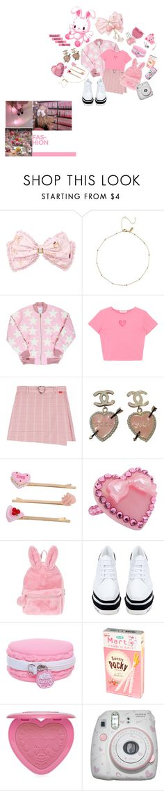 """strawberry pocky"" by ardenofeden ❤ liked on Polyvore featuring Chanel, Miss Selfridge, Tarina Tarantino, STELLA McCARTNEY, Too Faced Cosmetics, Hello Kitty and Polaroid"
