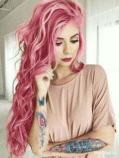 30 Best Rose Pink Hair Looks - Rose Pink Hair Color Trend The Effective Pictures We Offer You About Beauty - Rose Pink Hair, Hair Color Pink, Pastel Hair, Cool Hair Color, Pastel Pink, Ombre Color, Hair Colours, Pretty Pastel, Bright Pink Hair