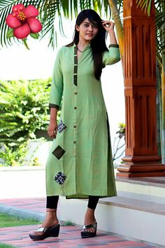 Look classy and stylish in this piece and revel in the comfort of the soft fabric. This is made of material which is soft and comfortable to wear. The ethnic diva in you just can't let this stylish kurti get away. Bollywood Suits, Bollywood Fashion, Fashion Pants, Fashion Outfits, Indian Kurta, Churidar Designs, Floral Sundress, Green Cotton, Designer Wear
