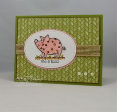 Blog Post Date:  September 21, 2017.  I just love these piggies!  Elements of this card include:  This Little Piggy stamp set, Delightful Daisy Designer Series Paper, Watercolor Paper, Decorative Ribbon Border punch, Burlap ribbon, Glitter Enamel Dots, Stitched Shapes Framelits and Layering Ovals Framelits for the Big Shot, and the colors of Basic Black, Old Olive, Powder Pink, Smoky Slate, Soft Suede, and Whisper White.