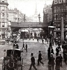 Ludgate Circus from Fleet St., London, England sometime during the turn of the century. Victorian London, Vintage London, Old London, London History, British History, Uk History, London Street, London City, London Bus