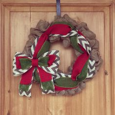 Burlap Christmas wreath with chevron and green and red. $45    https://www.facebook.com/WreathsbyKasy/