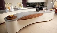 From backlit marble to live edge wood countertops, these custom kitchen islands use cutting-edge design techniques to make an impact. Kitchen Island With Sink, Kitchen Worktop, Kitchen Islands, Kitchen Interior, Kitchen Design, Kitchen Decor, Kitchen Ideas, Kitchen Trends, Kitchen Stuff