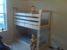 DIY Crib Mattress Toddler Bunk Bed #DIY #HomeDecor #Decor #Decorate #Decorations #Furniture #Beds #BunkBeds #Toddlers #Kids #ToddlerBeds