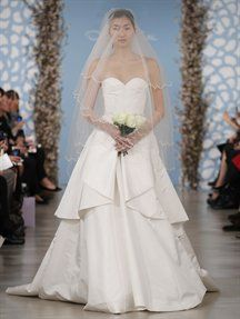 More Gorgeous Gowns From Oscar De La A 2017 Bridal Collection Above White Flower Sequin And Thread Work Embroidered Strapless Gown With Illusion Tulle