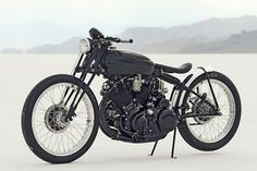 This custom Vincent Black Lighting was built by sculptor Jeff Decker. The headlight, believe it or not, is from a 1970s Honda ATC. The Vincent stars in the deluxe Bike EXIF motorcycle calendar, available from http://www.octanepress.com/book/bike-exif-custom-motorcycle-calendar-2013