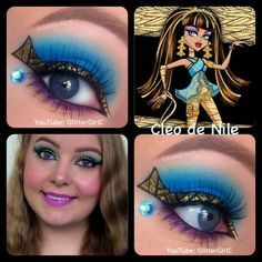 Monster high~Cleo de Nile eye makeup Made by:glittergirlc Monster High Make Up, Monster High Birthday, Monster High Party, Maquillaje Monster High, Trajes Monster High, Halloween Make Up, Halloween Face Makeup, Halloween Carnival, Makeup Collage