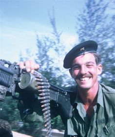 Soldier of the 17th Artillery Regiment, US Army with an M60 ~ Vietnam War