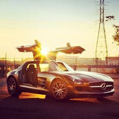 Amazing sunset and one hot Mercedes-Benz SLS AMG