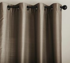 Bought these for my Dining Room: Dupioni Silk Grommet Drape | Pottery Barn in brownstone