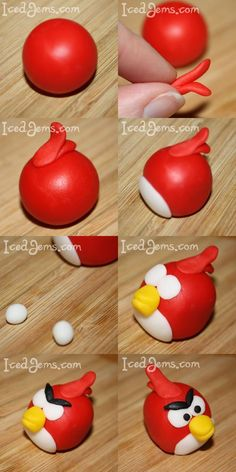 Another simpler angry bird (red) fondant tutorial Fondant Icing, Fondant Toppers, Fondant Cakes, 3d Cakes, Mini Cakes, Cupcake Toppers, Cumpleaños Angry Birds, Festa Angry Birds, Cake Topper Tutorial