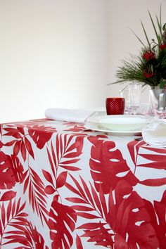 Hojas Rojo - Urrea Mantelerias Tablecloths, Wedding Decoration, Red Leaves, Green Headboard, Decorative Accents, Red, Yurts, Summary, Table Linens