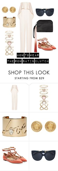 """""""The Row Ombre Satin Clutch"""" by luxurycitizen on Polyvore featuring Solace, Accessorize, Lanvin, Versace, Valentino, Linda Farrow and The Row"""