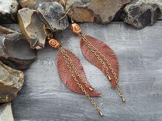 Feather earrings. Leather earrings. Tribal by VelmaJewelry on Etsy