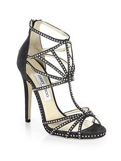 Vendetta Crystal-Coated Suede Cage Sandals - Zoom - Saks Fifth Avenue Mobile