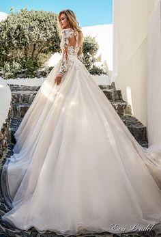 Eva Lendel 2017 bridal long sleeves v neck heavily embellished bodice romantic princess ivory a line wedding dress illusion lace back chapel train (allen) bv #wedding #bridal #weddingdress