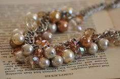 Cryatal and Pearl Baubles beaded necklace by SusieQStudio on Etsy