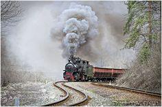 Banovici Narrow Gauge, Bosnia. Steam train, railway tracks, on rails, smoke, curve, transportation, photo