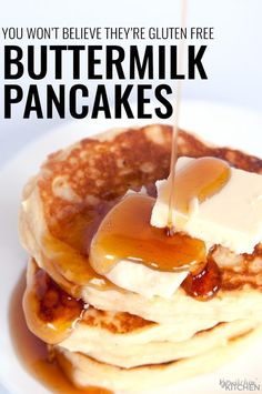 Gluten Free Buttermilk Pancakes You will not believe that these fluffy buttermilk pancakes are gluten free This classic breakfast recipe leaves your tummys full and your. Gluten Free Pancakes, Gluten Free Breakfasts, Gluten Free Diet, Gluten Free Baking, Gluten Free Recipes, Pancakes Easy, Gf Recipes, Fluffy Gluten Free Pancake Recipe, Fruit Pancakes