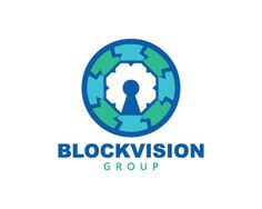 Abstract logo in the shape of an eye together with a padlock with blue and green.( block, vision, security, padlock, circle, thorn, spine, spike, eye, lightning)