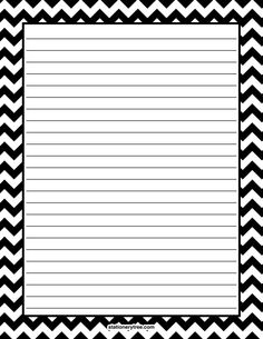 Printable black chevron stationery and writing paper. Multiple versions available with or without lines. Free PDF downloads at http://stationerytree.com/download/black-chevron-stationery/