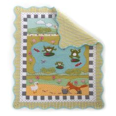 MacKenzie-Childs - Frog Pond Quilt - Here on the farm, the rhythmic lullaby of our lily pad philharmonic - the bullfrog bass line, the spring peeper's twangy strum - is often interrupted by the kerplunk of a splashing soloist, reminding us that nowhere serves up irreverent charm quite like the pond. Bringing the same juxtaposition of subdued and silly into the nursery, the Frog Pond Collection welcomes your little tadpole to the watering hole with the warmth of a sunny spring day. Our little…
