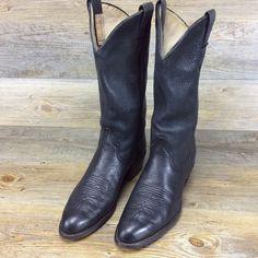 Men's Larry Mahan Soft Black Leather Cowboy Boots Size 9 #LarryMahan #CowboyWestern