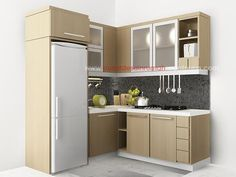 tiny L shape kitchen.  Move refrigerator to other side and do double oven/built in microwave