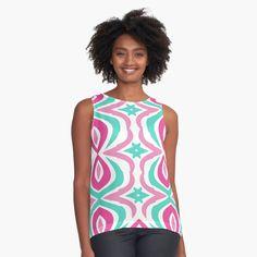 Womens Sleeveless Tops, Tankini, Tank Man, Chiffon, Teal, Fabric, Swimwear, Pattern, Pink