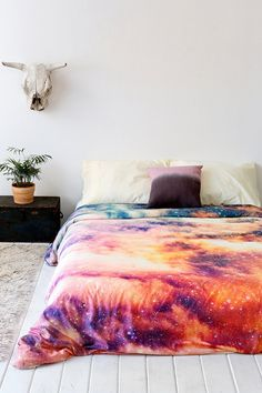 """So, after some experience with making """"galaxy"""" leggings and t-shirt for halloween, and learning some lessons, I think using that technique on a duvet cover would be super easy (and a lot cheaper!) Shannon Clark For DENY Cosmic Duvet Cover My New Room, My Room, Casa Hipster, Indie Hipster, Duvet Covers Urban Outfitters, Decoration Inspiration, Bedroom Inspiration, Dream Bedroom, Duvet Insert"""