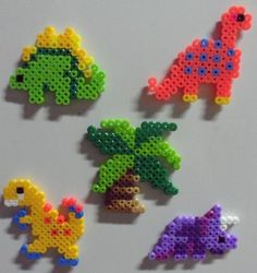 Dinosaur Perler Fused Bead Magnets from Ashley Glidewell Art & Crafts: