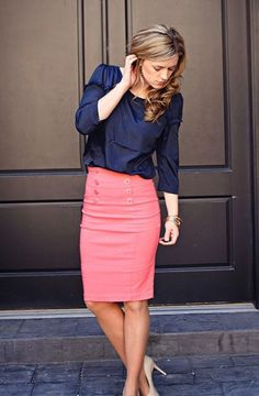 Beautifully Pair Coral with Navy