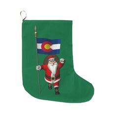Santa Claus With Flag Of State Colorado Large Christmas Stocking