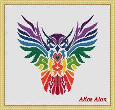 Cross Stitch Pattern Bird Owl rainbow ethnic silhouette owl Counted Cross Stitch Pattern / Instant Download Epattern PDF File