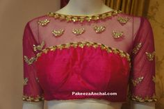 30 Latest Net Saree Blouse Designs Net sarees blouses are trending as they add this feminity, grace and elegance to your overall style. Here we've created the latest net saree blouse designs. These can be plain net saree with heavy … Silk Saree Blouse Designs, Fancy Blouse Designs, Blouse Neck Designs, Net Saree Blouse, Sari Bluse, Net Blouses, Stylish Blouse Design, Designer Blouse Patterns, Beautiful Blouses