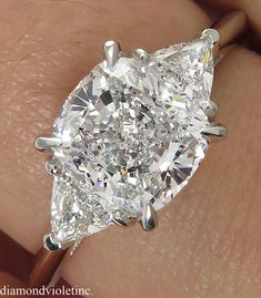 GIA 2.40ct Estate Vintage Cushion Diamond 3 Stone Engagement Wedding Platinum Ring