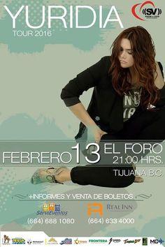 Yuridia en Tijuana febrero del 2016  Precios y detalles en: http://tjev.mx/1J8aFgs  #Eventos #Conciertos