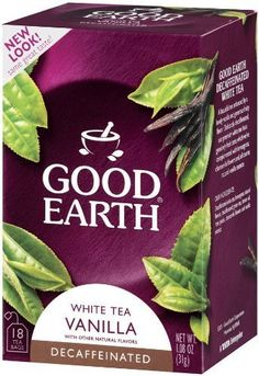 Good Earth Decaf White Tea Vanilla Blend (Pack of With natural flavors. A natural source of antioxidants. Individually wrapped for freshness. Decaf Tea, Vanilla Tea, Tea Plant, Natural Flavors, Tea Time, Tea Cups, Earth, Teas, Coffee
