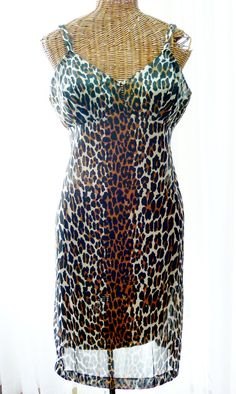 650fa7ed0a Vanity Fair Leopard Print Dress Slip New by Voilavintagelingerie Mad Men  Fashion