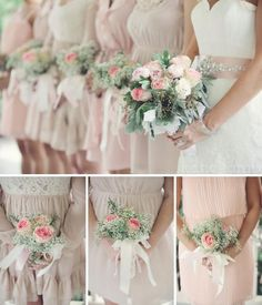 Babys Breath Bouquets Like this idea for the maid of honor and bridesmaid.but the baby's breath and flowers Bridesmaid Flowers, Wedding Bouquets, Wedding Flowers, Bridesmaids, Purple Roses, Pale Pink, Pink Flowers, Chelsea Wedding, Dream Wedding