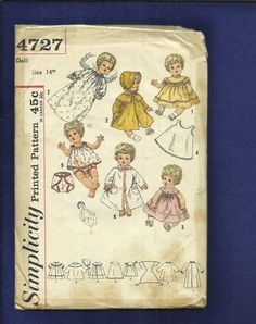 Vintage 1950's  Simplicity 4727 Baby Doll Wardrobe Dress Bunting Bonnet and More Size 14 inch Doll