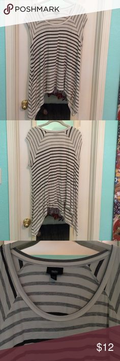 Grey Ombré Striped Cap Sleeve Top Grey Ombré Striped Cap Sleeve Top -- by Massimo - size XXL -- worn once -- super comfy -- handkerchief hi-lo hem -- pair with leggings or denim -- striping starts light grey at collar to dark grey in middle then back to light grey Mossimo Supply Co Tops