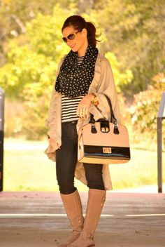 Casual Fall Outfits to Copy and Try: Striped T-shirt + Polka Dot Scarf + Wrap + Black Jeans + Riding Boots #FallOutfit #Style #GetYourPrettyOn