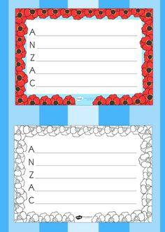 Anzac day acrostic poem template