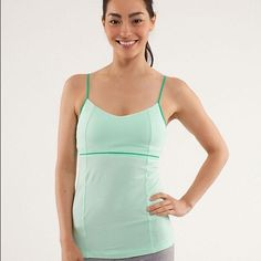 Lululemon Luminous Tank EUC. Gorgeous green color, great for spring! Has cami straps, and a thin band of mesh around the rib cage. Size 8, but runs very small and would better fit a size 2/4. Does not come with cups. Small flaw on the back shown in last photo, very unnoticeable and doesn't affect the tank at all. Smoke/pet free home. Any questions please ask ☺️ no trades ❌ lululemon athletica Tops Tank Tops