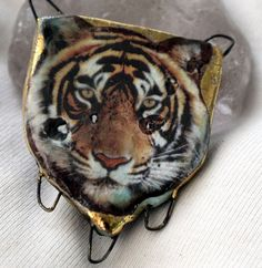 Tiger Face Connector by ScorchedEarthonEtsy on Etsy